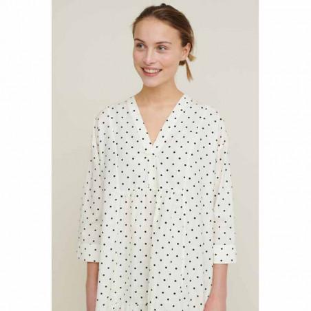 Basic Apparel Kjole, Abby Dress Dot, Off White/Black med prikker og v-hals