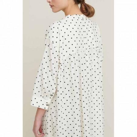 Basic Apparel Kjole, Abby Dress Dot, Off White/Black detalje