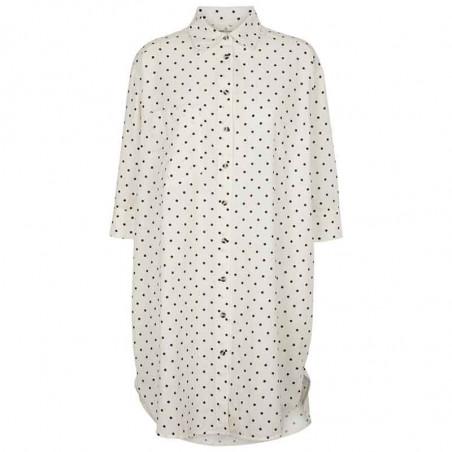 Basic Apparel Skjorte, Nora Shirt Dot, Off White/Black Prikket skjortekjole