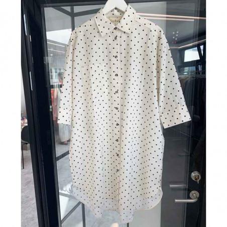 Basic Apparel Skjorte, Nora Shirt Dot, Off White/Black