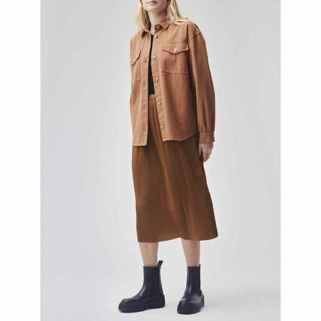 Modström Skjorte, Catalina, Brown Oak Modstrøm twill skjorte på model