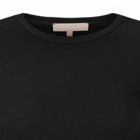 Soft Rebels Bluse, SRNorma Top, Black SoftRebels T-shirt detalje