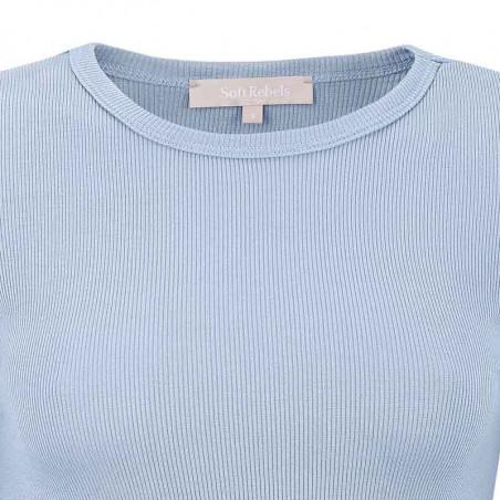Soft Rebels Bluse, SRNorma Top, Zen Blue Softrebels t-shirt detalje