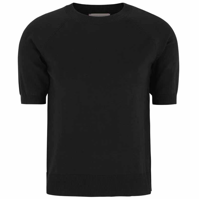 Soft Rebels Bluse, SRMarla SS O-neck Knit, Black Kortærmet strikbluse