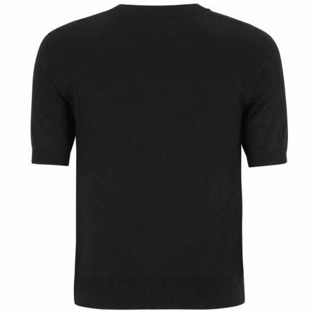 Soft Rebels Bluse, SRMarla SS O-neck Knit, Black Kortærmet strikbluse ryg