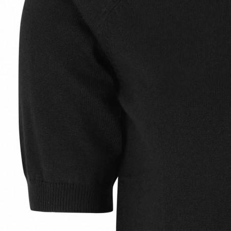 Soft Rebels Bluse, SRMarla SS O-neck Knit, Black Kortærmet strikbluse detalje