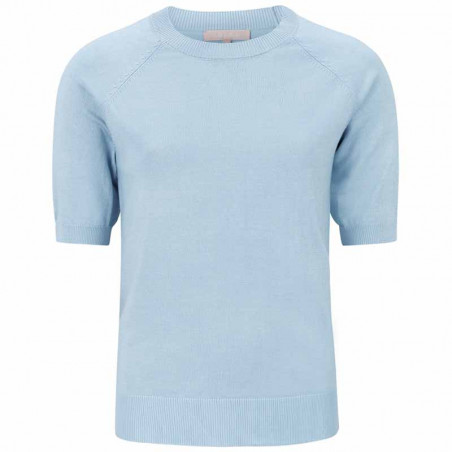 Soft Rebels Bluse, SRMarla SS O-neck Knit, Zen Blue kort ærmet strik bluse