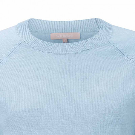 Soft Rebels Bluse, SRMarla SS O-neck Knit, Zen Blue kort ærmet strik bluse detalje
