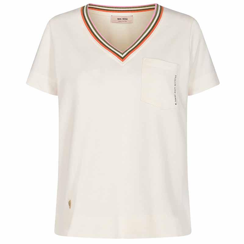 Mos Mosh Bluse, Marilyn V Sweat Tee, Ecru MosMosh t-shirt