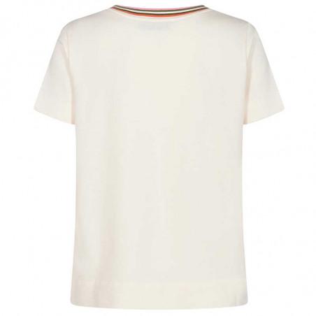 Mos Mosh Bluse, Marilyn V Sweat Tee, Ecru MosMosh t-shirt ryg