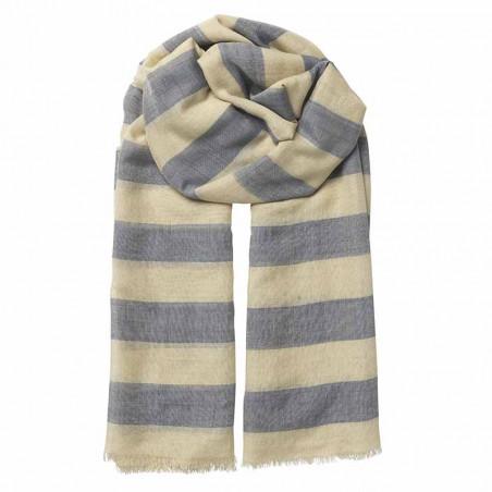 Beck Söndergaard Tørklæde, Liney Siw scarf, Blue -  Beck Søndergård silke-bomulds tørklæde