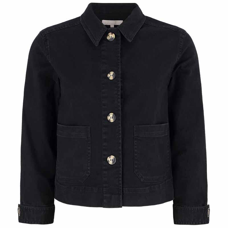Soft Rebels Jakke, SRLauren LS Short Loose, Black Twill Jacket