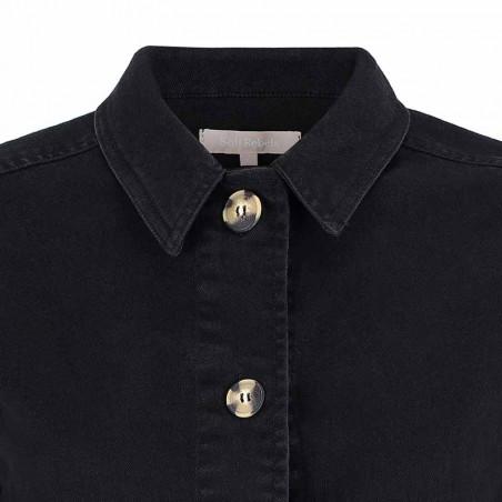 Soft Rebels Jakke, SRLauren LS Short Loose, Black Twill Jacket detalje