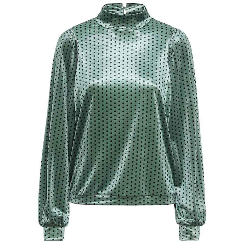 Hunkøn Bluse, Maddie, Green Dot Maddie velour bluse.
