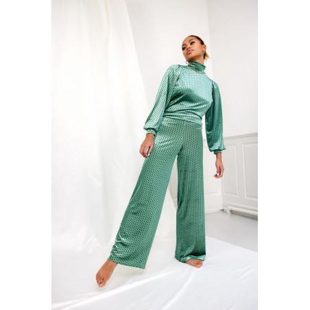 Hunkøn Bluse, Maddie, Green Dot Maddie velour bluse look med bukser