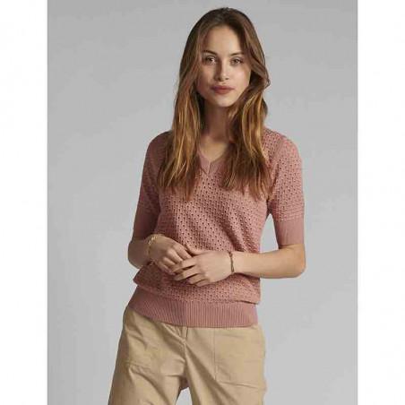 Nümph Bluse, Nybrynn V-Neck, Ash Rose numph strik pullover på model