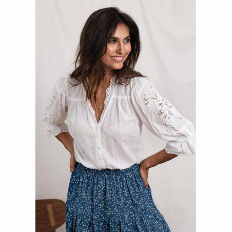Lollys Laundry Bluse, Charlie Top, White look med morning nederdel