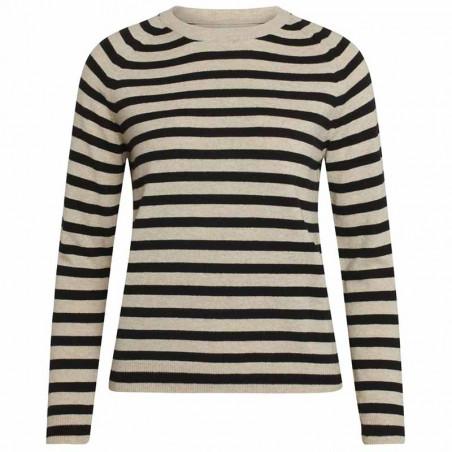 Mads Nørgaard Strik, Kaxa stripe, Beige/Black Stripe mads nørgaard dame mads nørgaard trøje