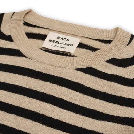 Mads Nørgaard Strik, Kaxa stripe, Beige/Black Stripe mads nørgaard dame mads nørgaard trøje detalje