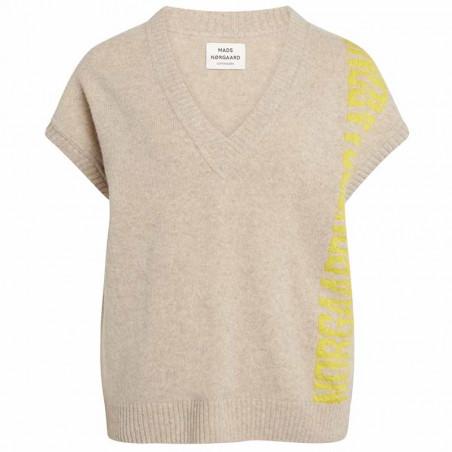 Mads Nørgaard Vest, Vanessa Recycled soft knit, Beige Mads Nørgaard strikket vest dame