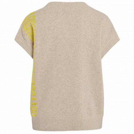 Mads Nørgaard Vest, Vanessa Recycled soft knit, Beige Mads Nørgaard strikket vest ryg