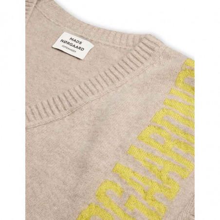 Mads Nørgaard Vest, Vanessa Recycled soft knit, Beige Mads Nørgaard strikket vest detalje