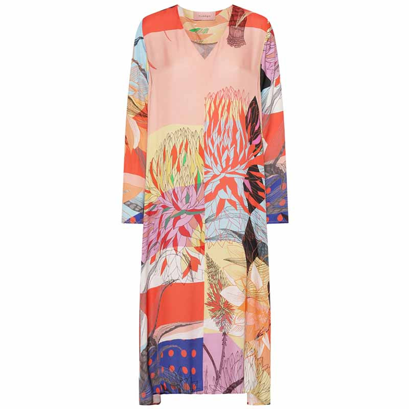 Hunkøn Kjole, Alicia V-neck dress, Multi Art Print Hunkøn tøj