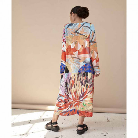 Hunkøn Kjole, Alicia, Multi Art Print på model variant ryg
