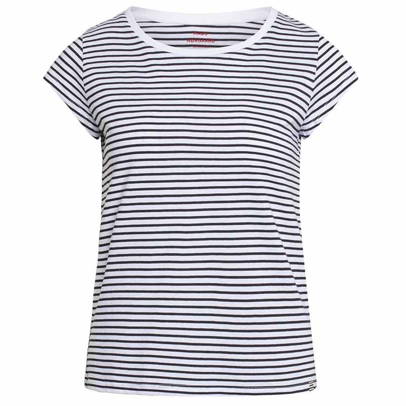 Mads Nørgaard T-Shirt, Teasy Organic Favorite Stripe, White/Black mads nørgård tøj