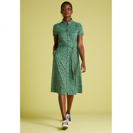 King Louie Kjole, Olive Bobcat Dress, Neptune Green Kinglouie jersey kjole på model