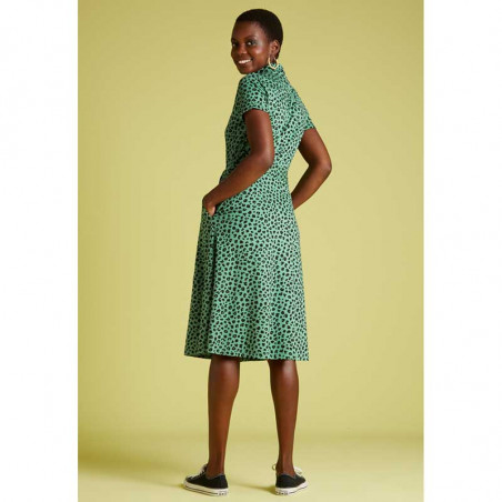 King Louie Kjole, Olive Bobcat Dress, Neptune Green Kinglouie jersey kjole på model set bagfra