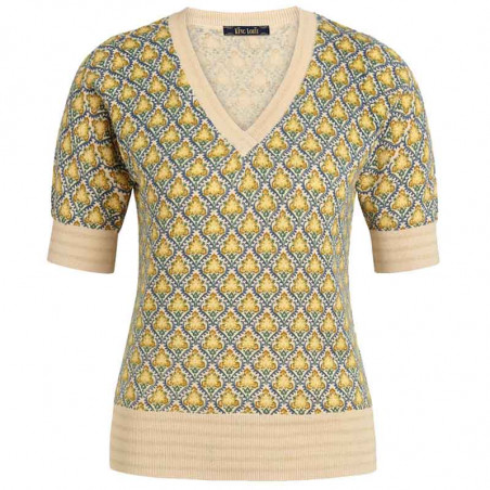 King Louie Bluse, Palmer V-neck Top, Cream