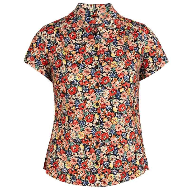 King Louie Bluse, Santa Rosa, Black King Louie Skjorte i jersey med blomsterprint