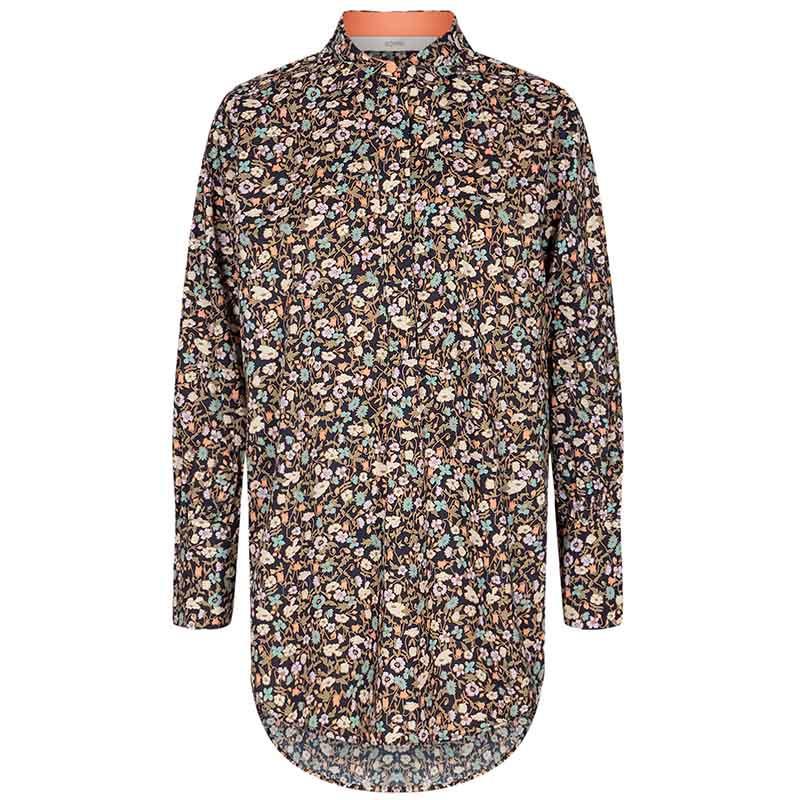 Nümph Skjorte, Nucharlotta, Dark Sapphire numph storskjorte småblomstret bluse fra Nümph