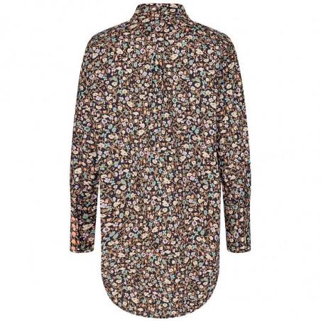 Nümph Skjorte, Nucharlotta, Dark Sapphire numph storskjorte småblomstret bluse fra Nümph ryg