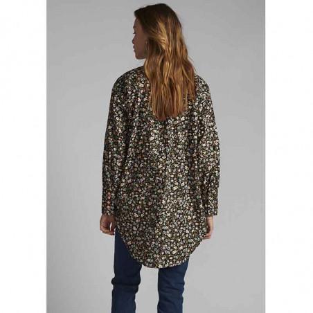 Nümph Skjorte, Nucharlotta, Dark Sapphire numph storskjorte småblomstret bluse fra Nümph set bagfra