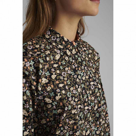 Nümph Skjorte, Nucharlotta, Dark Sapphire numph storskjorte småblomstret bluse fra Nümph detalje