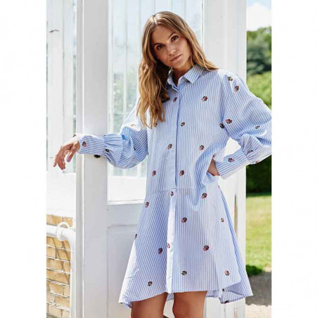 Nümph Kjole, Nudahlia, Blue Stripe Numph skjortekjole Nümph sommerkjole look