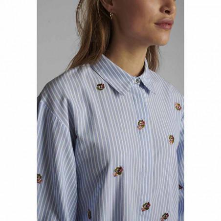 Nümph Kjole, Nudahlia, Blue Stripe Numph skjortekjole Nümph sommerkjole detalje