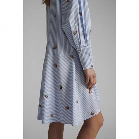 Nümph Kjole, Nudahlia, Blue Stripe Numph skjortekjole Nümph sommerkjole manchetter