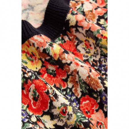 King Louie Bluse, Gigi Top Santa Rosa, Black King Louie strik bluse med blomster print detalje