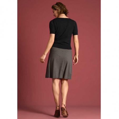 King Louie Nederdel, Border skirt Fresno, Black print Kinglouie jersey nederdel på model set bagfra