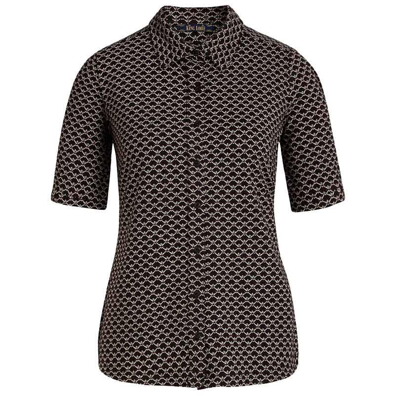 King Louie Bluse, Fresno blouse, Black Ecovero viscose jersey skjorte