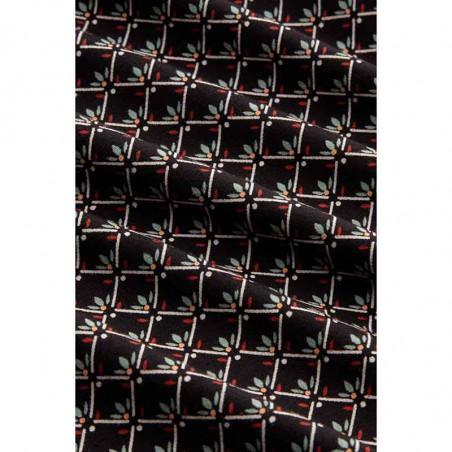 King Louie Bluse, Fresno blouse, Black Ecovero viscose jersey skjorte detalje print