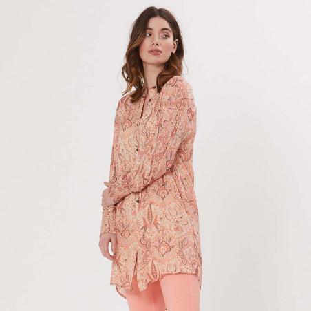 PBO Kjole, Carnana Dress, Rosa Print PBO skjortekjole i viscose på model