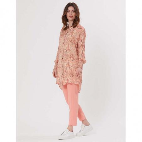 PBO Kjole, Carnana Dress, Rosa Print PBO skjortekjole i viscose look med beck bukser