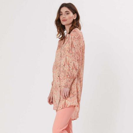 PBO Kjole, Carnana Dress, Rosa Print PBO skjortekjole i viscose på model fra siden