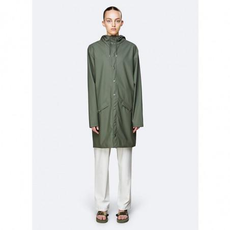 Rains Regnjakke dame, Lang, Olive rains long jacket rains jakke regnjakke unisex rains jacket på model