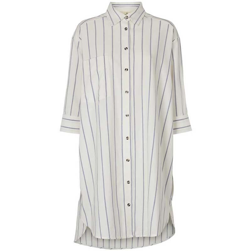 Basic Apparel Skjorte, Nora Shirt New Stripe, Off White/Navy