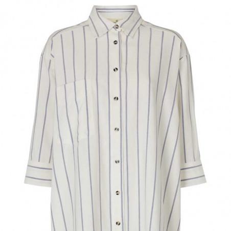 Basic Apparel Skjorte, Nora Shirt New Stripe, Off White/Navy detalje